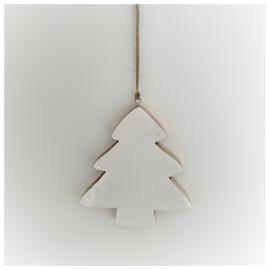 Kersthanger kerstboom hout wit