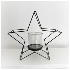 Waxinelichthouder ster zwart 30cm