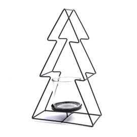 Waxinelichthouder Kerstboom zwart 36cm