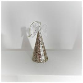 Kersthanger engel met gouden glitter rok 14cm