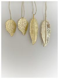 Kersthanger bladeren goud (4 st)
