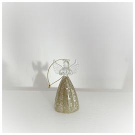 Kersthanger engel met gouden rok 9cm