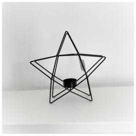 Waxinelichthouder ster zwart 20cm