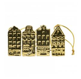 Kersthanger Mini huisjes met lint goud (4 st)