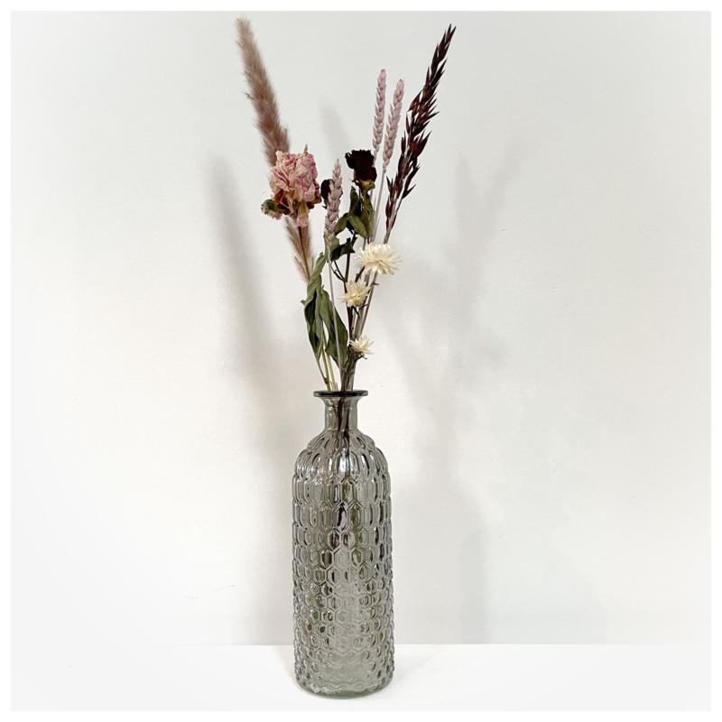 Vaas (bruin) met droogbloemen
