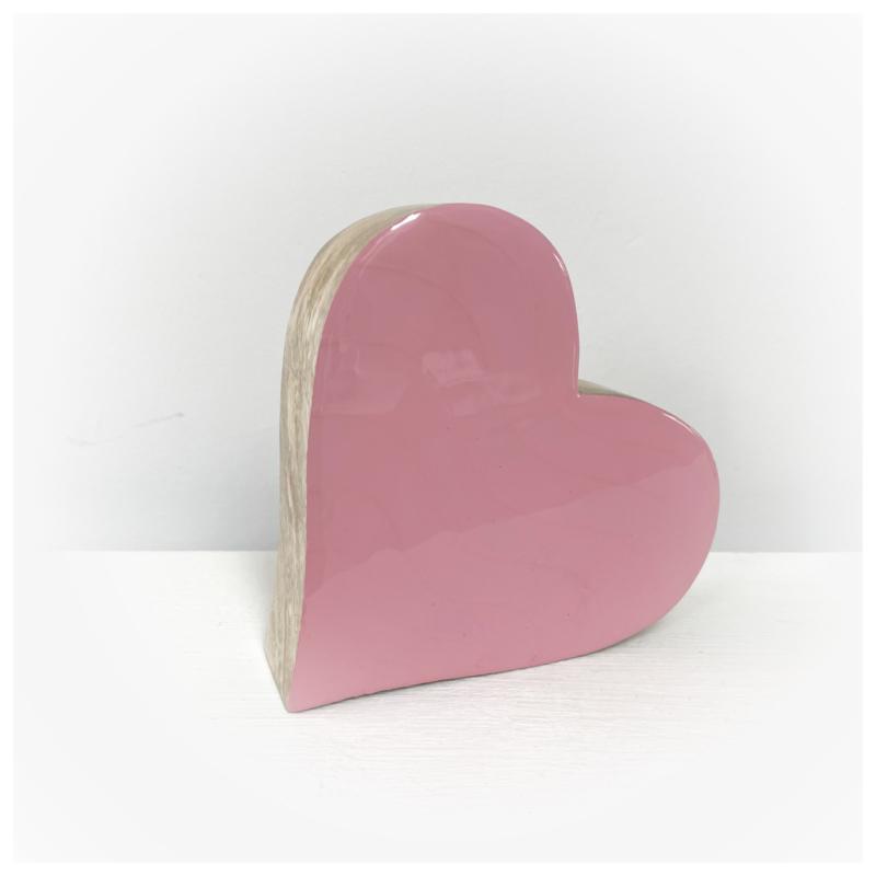 Houten hart roze