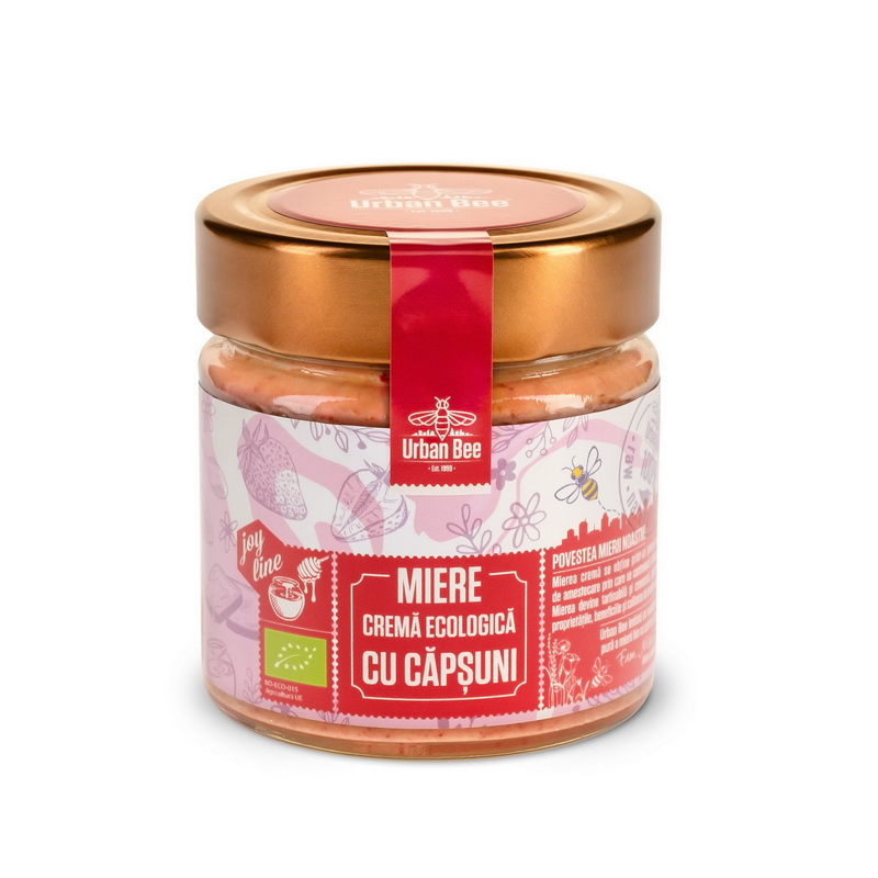 Creamed Honey with Dried Strawberries - BIO - Raw - 400g