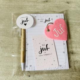 Juffen cadeauset incl. Sleutelhanger roze hart