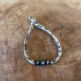 Armbandje JUF panterprint bruin