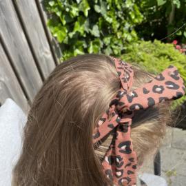 Haarband terra met foil panterprint