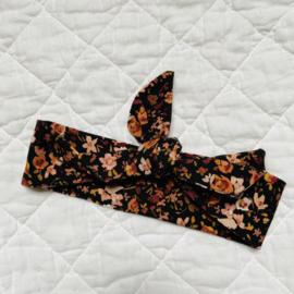 Haarbandje zwart met bloemenprint