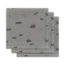 Jollein monddoekje hydrofiel Spot storm grey 3-pack