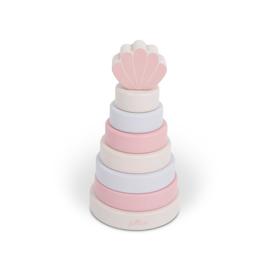 Jollein Houten stapeltoren schelp pink