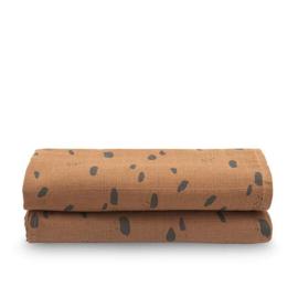 Jollein hydrofiele multidoek Large 115x115cm Spot caramel 2-pack