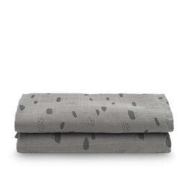 Jollein hydrofiele multidoek Large 115x115cm Spot storm grey 2-pack