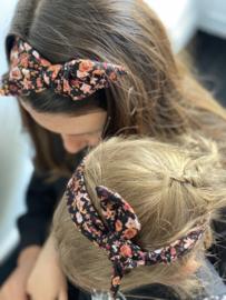 Haarband zwart met bloemenprint