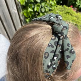 Haarband legergroen met foil panterprint