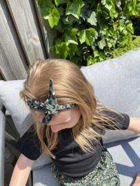 Haarbandje legergroen met foil panterprint