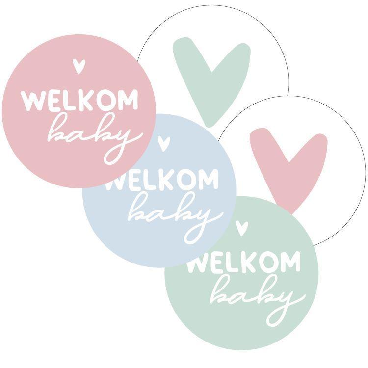 Ronde stickers Welkom baby     10 stuks