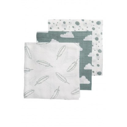 Meyco hydrofiele luiers 70x70cm 3-pack feathers-clouds-dots stone green