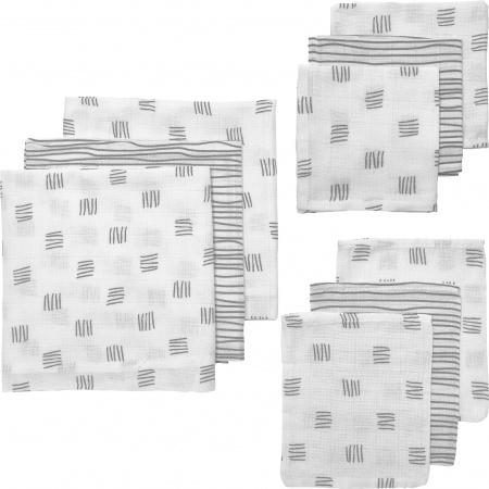 Meyco hydrofiel starters 9-delig block stripe grijs