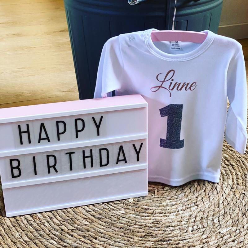 Verjaardagshirt  |  Naam en leeftijd