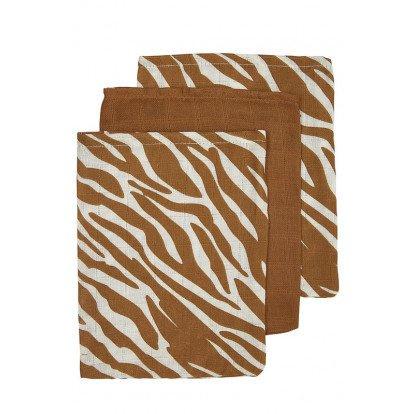 Meyco washandjes 3-pack zebra dessin camel