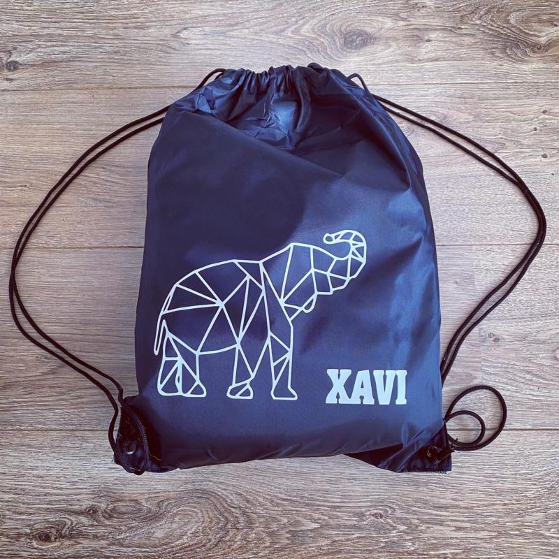 Gymtasje polyester     Naam en geometrische olifant