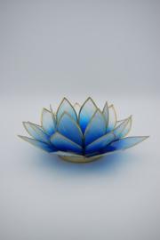 Lotus sfeerlicht blauw met goudrand