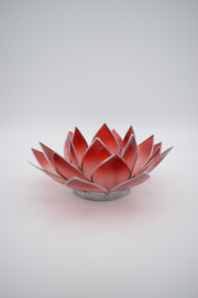 Lotus sfeerlicht rood met zilverrand