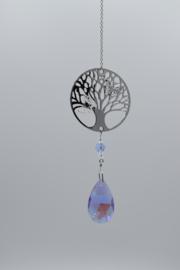 Kristaldruppel violet met levensboom