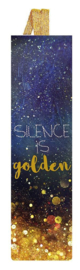 "Bladwijzer met elastiek ""Silence is Gold"""