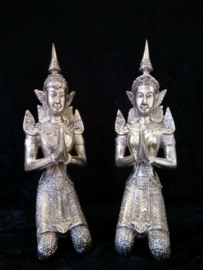 Thep Phanom - Tempelwachters brons zilverkleur (set) 25cm