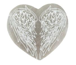 Seleniet hart met engelenvleugels