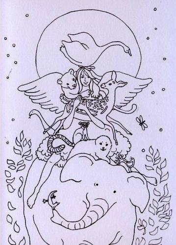 Engel van de dieren dubbele kaart
