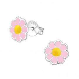 Zilveren kinderoorbellen: bloem roze