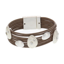 Biba armband imitatie leer met strass steentjes bruin