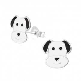Zilveren kinderoorbellen:  hond