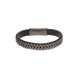 Biba armband imitatie leer met metaal