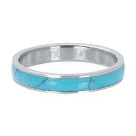IXXXI Vulring  Turquoise stone  zilverkleurig 4 mm