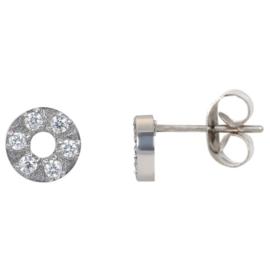 ixxxi oorbellen / oorstekers Circle stone 6 mm zilverkleurig