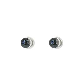 Biba oorstekers zilverkleurig met swarovski steentje blauw