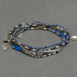 Biba armband zomerse set zilverkleurig  blauw, groen, natuur, roze, rood en geel