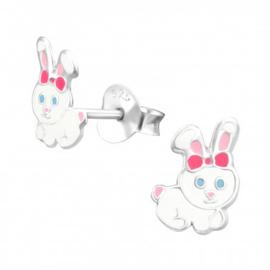 Kinder oorbel/oorsteker sterling zilver 925 konijn