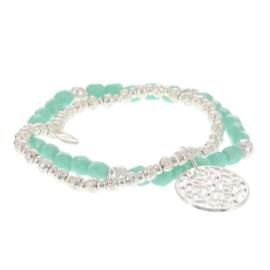 Biba armband set crystal met hanger groen