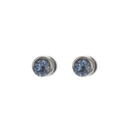 Biba oorstekers gunmetal met swarovski steentje blauw