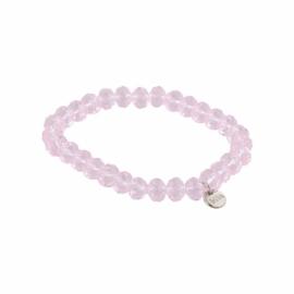 Biba armband basic crystal roze 8 mm