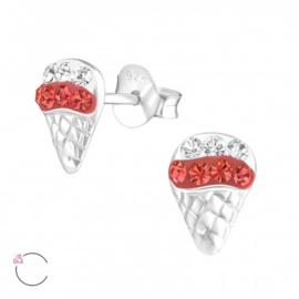 Zilveren kinderoorbellen:  ijsje met swarovski kristal