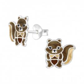 Zilveren kinderoorbellen: eekhoorn