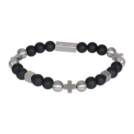 IXXXI-Men  kralenarmband Grover mat zilverkleurig zwart